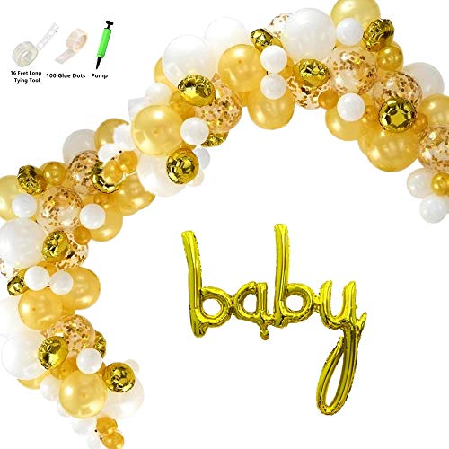 Mapple Balloon 100 Pcs Baby Script Letter Balloom Garland Kit Arch Garland for Baby Shower Gender Reveal Party Photo Shoots, Gold