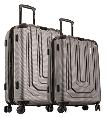 "TravelCross Toulon Expandable Lightweight Hardshell Spinner Luggage (Dark Gray, 24""+28"")"