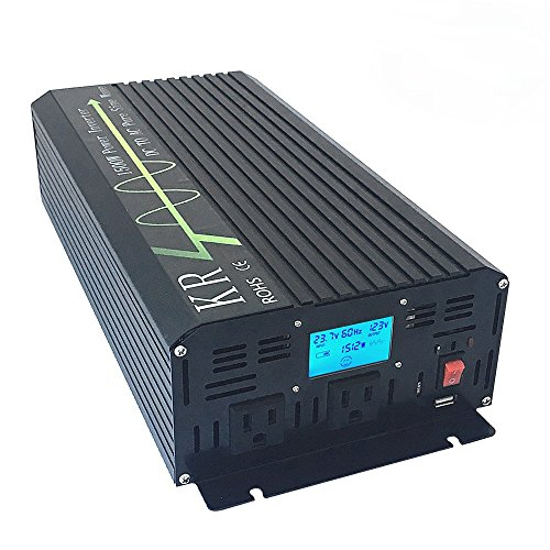 KRXNY 1500W Off Grid Pure Sine Wave Power Inverter Converter DC 24V to 110V 120V 60HZ With Dual USA Output Socket USB Port LCD Display by KRXNY