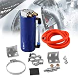 Universal Aluminum 450ml Racing Engine Oil Catch CAN Turbo Reservoir Billet Round Oil Catch Tank Blue