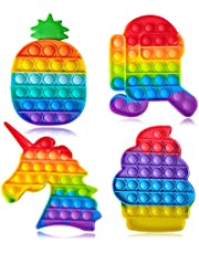 Push Pop Fidget Funny Bubble Fidget Sensory Silicone Squeeze Toys 4 Pcs