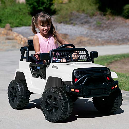 Off-road style kids car with headlights and safety controls