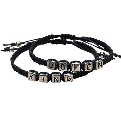 fa7cd291e673 PIXNOR pulseras para parejas King y Queen hechas a mano de color negro   Amazon.es  Joyería