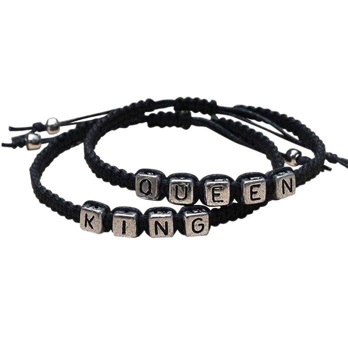 PIXNOR pulseras para parejas King y Queen hechas a mano de color negro