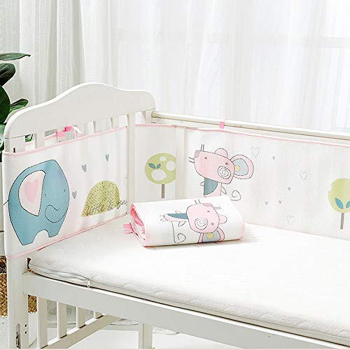Redsa Baby Cot Bumper Wrap Around Protection Breathable Sandwich Mesh Liner Cradle Quilt Set for Baby