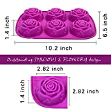 2 [Packs] 6 Cavity Rose Flower Candy Treats Cake Maker Mold. Chocolate Soap Mold. Baking Pan, Bake ware - Food Grade Silicone. By DidaDi Color: Violet Purple
