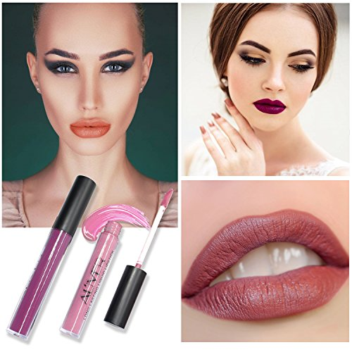 Matte Lipstick, 5 Colors Set Waterproof Long Lasting Liquid Lipstick Pigmented Lip Stains Durable Lip Gloss Set Lip Tints Best Gift Set for Girl Friend
