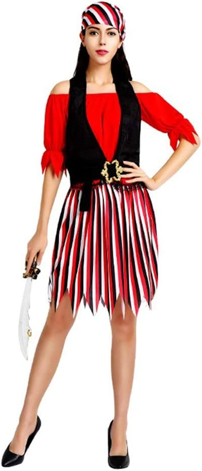 LYLLYL Disfraz de Pirata de Dama Adulta de Vestido Rojo, Disfraz ...