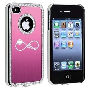 Apple iPhone 4 4S 4G Pink S2618 Rhinestone Crystal Bling Aluminum Plated Hard Case Cover Infinity Infinite Love For Baseball Softball