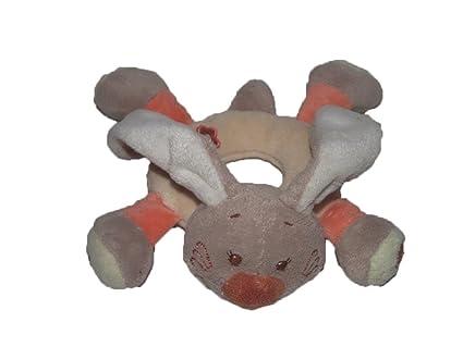 Nattou – Doudou Nattou conejo sonajero marrón y naranja – 5409