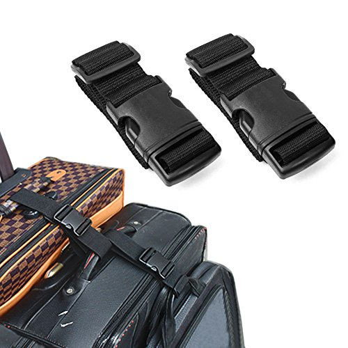 Pack of 2 Add-A-Bag Luggage Strap, Baggage Suitcase Adjustable Belt Straps Travel Accessories Attachment - Connect Your Three Luggages Together, (Small Bag Strap)