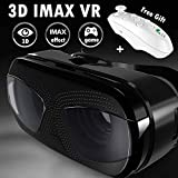 VR Virtual Reality Goggle for Adult & Kid, iOS Android PC Phone 3D VR Viewing Glasses w/Remote Compatible for iPhone X S 8 7 6 + Samsung Galaxy S9 S8 S7 S6 Edge, VR Headset for 3D Video Game, Black