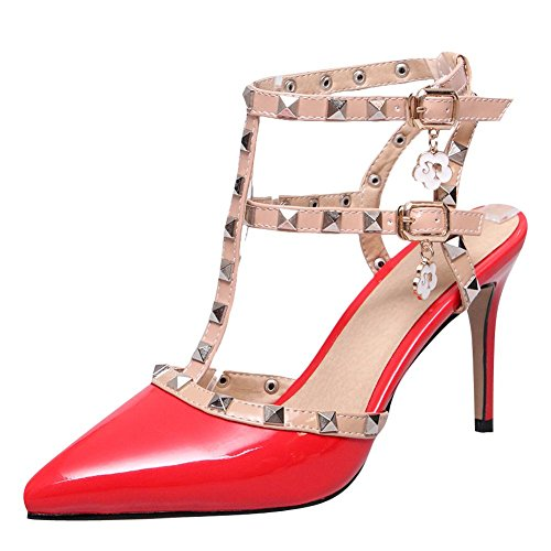 Red Chic Buckle Mee Shoes Court Shoes Stiletto Women's wvvqzxE0