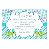 30 Thank You Cards Notes Turtle Birthday Twins Personalized Cards + 30 White Envelopes