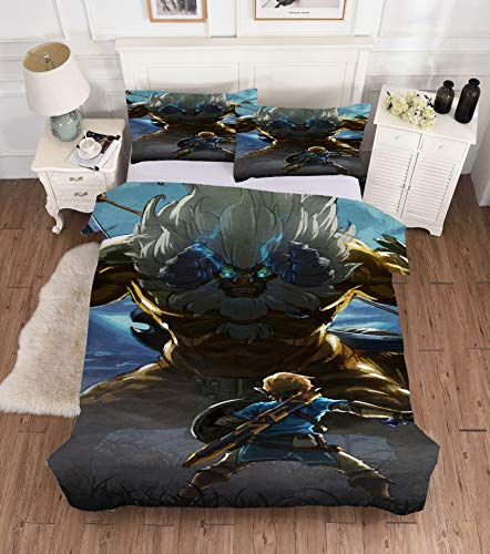 ROMOO 3pcs The Legend of Zelda: Breath of The Wild Duvet Cover Set, Ultra Silky Soft Premium Bedding Collection, 1x Duvet Cover and 2X Pillowcase (Zelda Duvet Cover)
