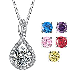 Caperci Created Gemstone Infinity Pendant Necklace for Women, 6 Replaceable Birthstones