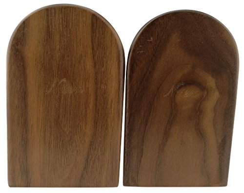 Winterworm Simple Nature Japanese Style Black Walnut Wood Bookends Book Ends For Home Office Library School Study Decoration Gift (Round,Small) by Winterworm (Image #2)