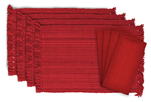 DII Tonal Fringe Linen Set, 4 Placemats & 4 Napkins, Tango Red - Perfect for Fall, Dinner Parties, BBQs, Christmas, Weddings and Everyday Use ()
