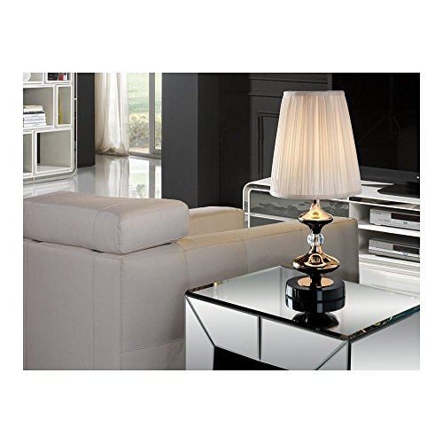 Schuller Spain 496123I4L Traditional Gold Table Lamp Black 1 Light Living Room, bed room, Study, Bedroom LED, White shade Gold Table Lamp | ideas4lighting by Schuller