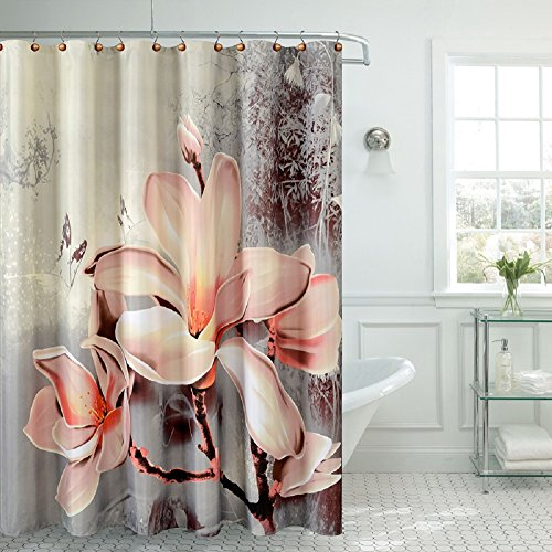 "BH Home & Linen Fancy Garden Rose Fabric Shower Curtain 70"" x 72 Made with 100% Polyester. (Lily) from BH Home & Linen"