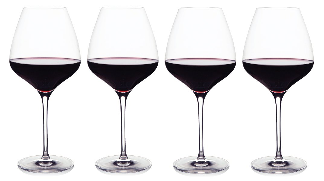 The One Wine Glass - Perfectly Designed Shaped Red Wine Glasses For All Types of Red Wine By Master Sommelier Andrea Robinson, Premium Set Of 4 Lead Free Crystal Glasses, Break Resistant