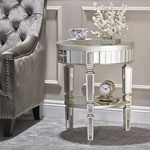 Price comparison product image Christopher Knight Home 301523 Willa Round Table, Clear + Champagne Silver