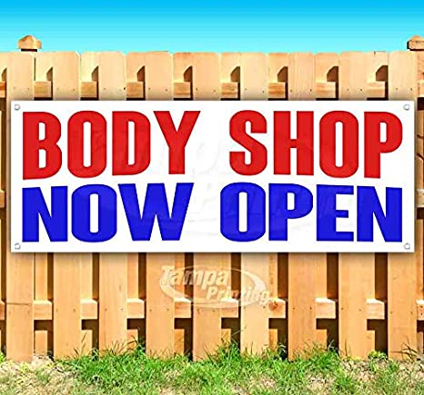 Many Sizes Available Flag, Advertising Store Body Shop Now Open 13 oz Heavy Duty Vinyl Banner Sign with Metal Grommets New