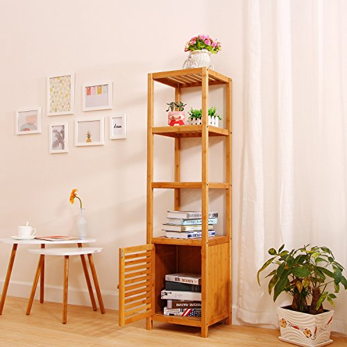 5 Tier Natural Bamboo Floor Cabinet Bathroom Tower Storage ...