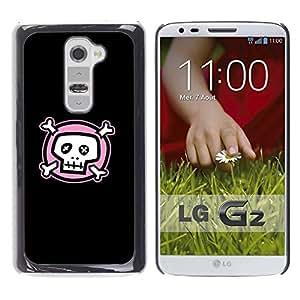 Caucho caso de Shell duro de la cubierta de accesorios de protección BY RAYDREAMMM - LG G2 - Layer Cute Pink Skull Pirate