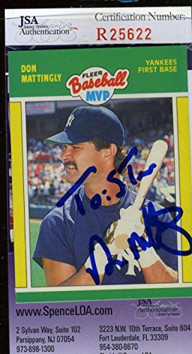 DON MATTINGLY 1989 FLEER MVP Hand Signed Certified Autographed Authentic - JSA Certified - Baseball Slabbed Autographed Cards