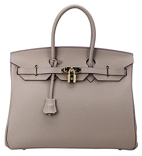 Cherish Kiss Women's Classic Genuine Leather Tote Padlock Handbags H35 (35CM, Taupe) by Cherish Kiss