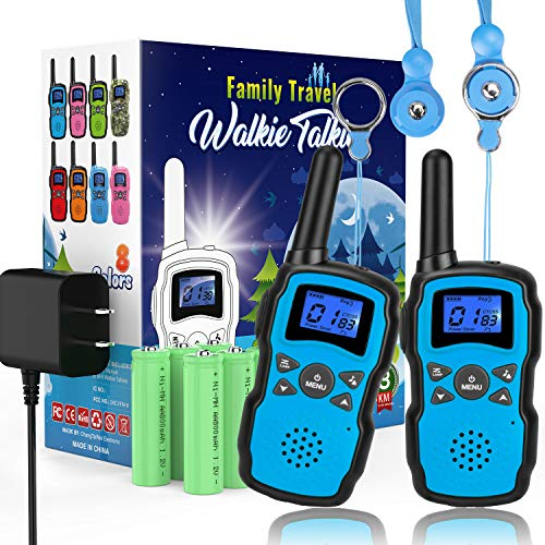 Wishouse 2 Rechargeable Walkie Talkies for Kids with Charger Battery, Two Way Radio Family Talkabout for Adult Cruise Ship Long Range, Outdoor Camping Hiking Fun Toys Birthday Gift for Girls Boys Blue (Best Walkie Talkie For Cruise Ship 2019)