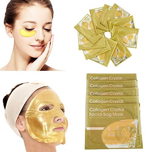 CCbeauty 24K Gold Collagen Mask, 5 Pcs Crystal Facial Mask + 10 Pairs Gold Eye Mask Anti-Wrinkle Dark Circles and Puffins Skin Whitening & Moisturizing Treatment