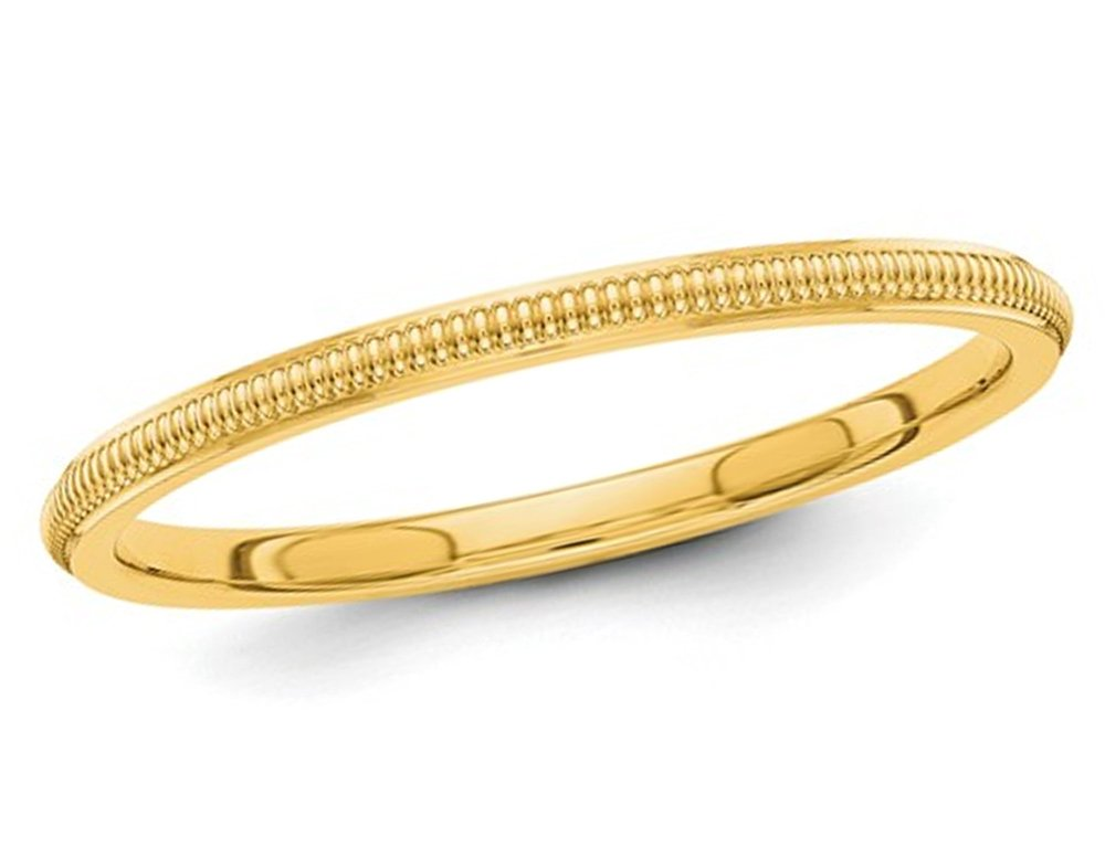Ladies 14K Yellow Gold 2mm Stackable Milgrain Wedding Band by Gem And Harmony