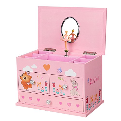 SONGMICS Ballerina Music Jewelry Box For Little Girls 3
