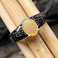 Genuine Green and Red Ethiopian Opal Cabochan, Black Spinel 925 Solid Sterling Silver Engagement Ring Size 6, 7, 9