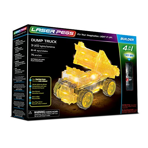 Laser Pegs Dump Truck 4-in-1 Building Set Building Kit; The First Lighted Construction Toy to Ignite Your Child's Creativity; It's Your Imagination, Light It Up