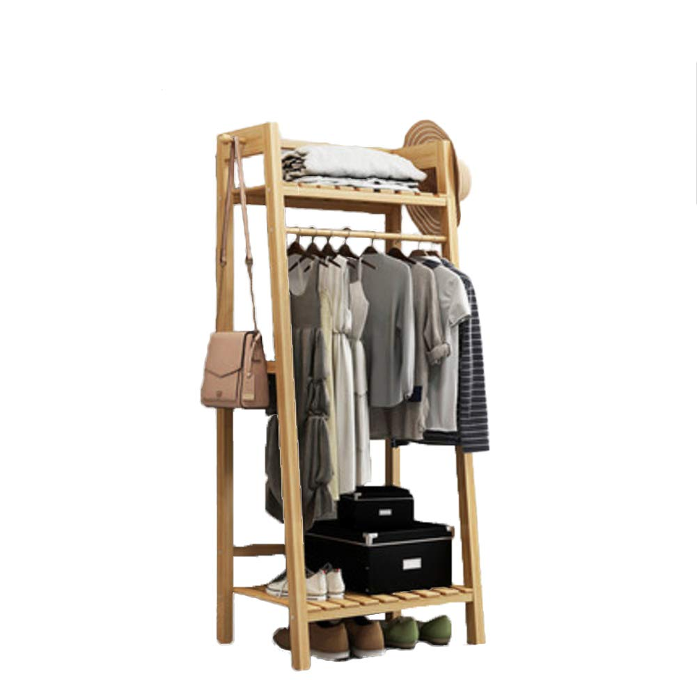 M 50x40x140cm(20x16x55) Multipurpose Bamboo Entryway Coat Rack with Shelf, Premium Coat Stand shoes Rack, with Roller Heavy Duty Hall Home-M 50x40x140cm(20x16x55)