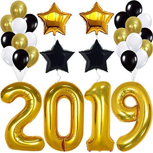 2019 Balloons Graduation New Year- Gold, 2019 Foil Mylar Number - Graduation Party Supplies 2019 - Graduation Decorations - Gold Black White Balloons for New Years Eve Party Supplies 2019, Large