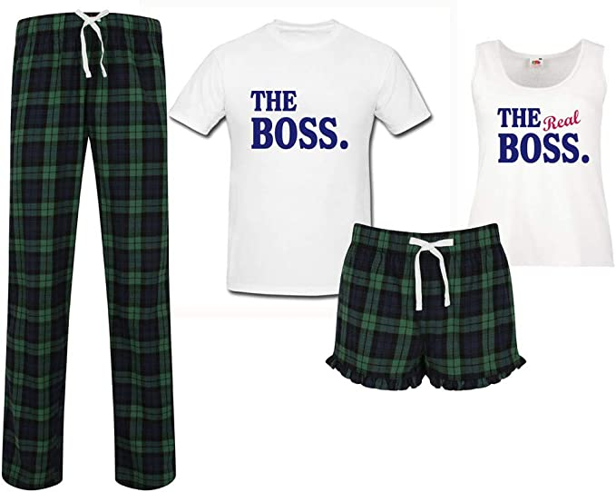 His and Hers The Boss and The Real Boss Set Husband and Wife Matching