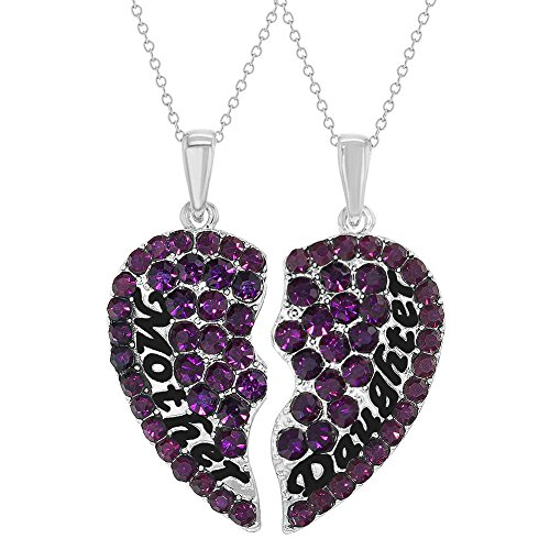 In Season Jewelry Rhodium Plated Purple Mother Daughter Necklace Pendant Hearts 19