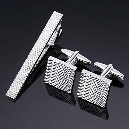 Camisa de Hombre Gemelos Clip de Corbata patrón de Plata Clip de ...