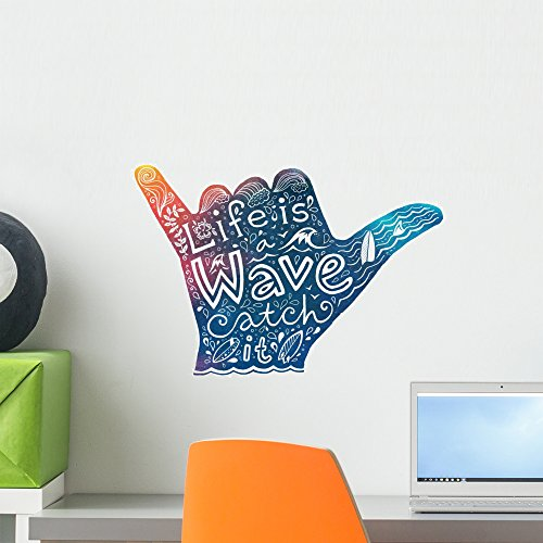 Wallmonkeys Watercolor Surfer Shaka Hand Wall Decal Peel and Stick Graphic (18 in W x 13 in H) - Surfer Decor Room
