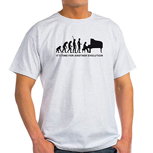 - CafePress Evolution Piano Light T Shirt 100% Cotton T-Shirt Ash Grey