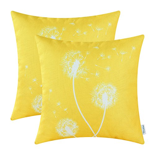 (CaliTime Pack of 2 Canvas Throw Pillow Covers Cases for Couch Sofa Home Decor Solid Dandelion Print 18 X 18 Inches Vibrant Yellow)
