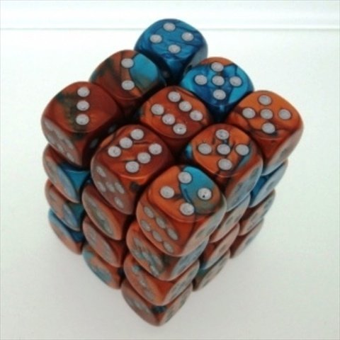 Copper Teal with Silver Gemini Dice D6 12mm Set of 36
