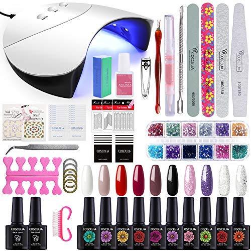 Gelongle 10 Colors Gel Polish Starter Kit 36W LED UV Nail Dryer Curing Lamp Manicure Nail Art Tools (Nails Gel Starter Kit)