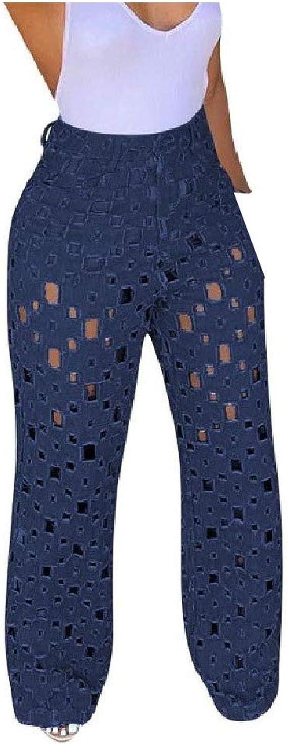 sayahe Women Hollow Out Casual Weekend Wide Leg Summer Highwaist Jeans
