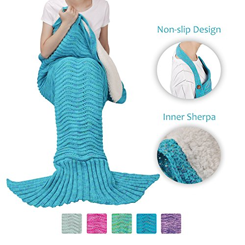 Sherpa Mermaid Tail Blanket for Adults Teens Girls Womens, Super Comfy Warm Anti-Slip Knitted Mermaid Blanket Wave Pattern | Gift Package Included, Blue