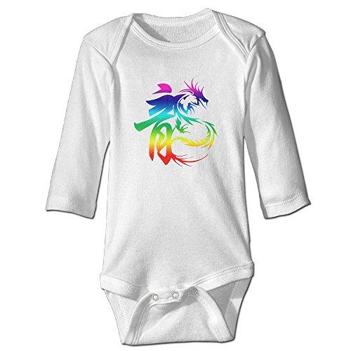 [Raymond Chinese Word Dragon Long Sleeve Bodysuit Baby Onesie White 24 Months] (Dwayne Johnson Baby Costume)